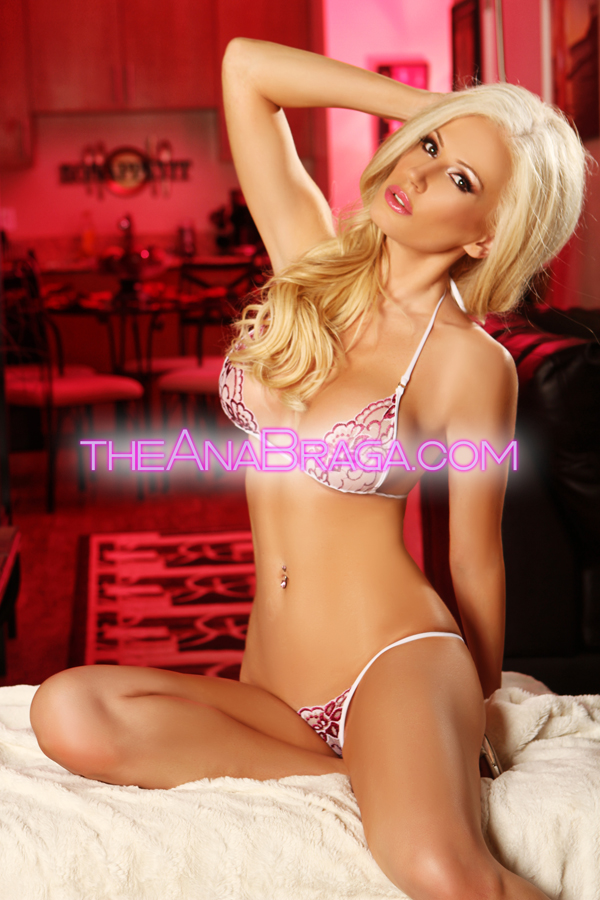ANA BRAGA PINK & WHITE LINGERIE CLOTHED AUTOGRAPHED PHOTO 8x10