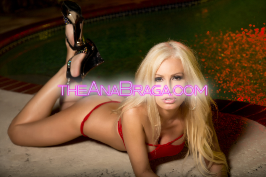 ANA BRAGA RED BIKINI LAYING CLOTHED AUTOGRAPHED PHOTO 8x10