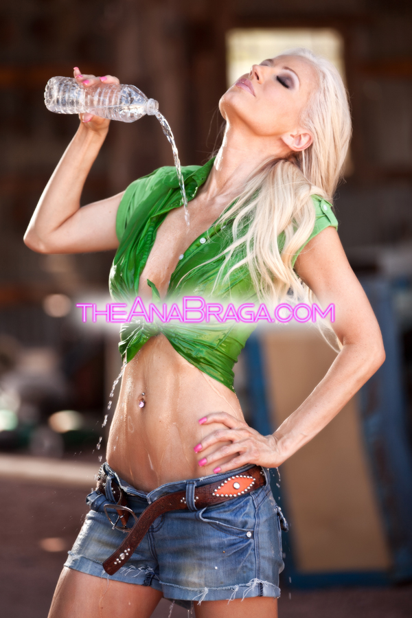 ANA BRAGA DENIM WET CLOTHED AUTOGRAPHED PHOTO 8x10