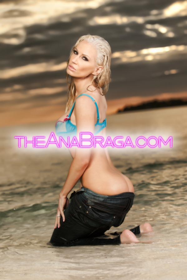 ANA BRAGA BRA WET PARTIAL NUDE BEACH AUTOGRAPHED PHOTO 5x7